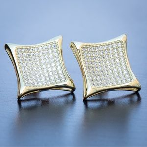 Large Iced 5A CZ Kite Square Stud Earrings
